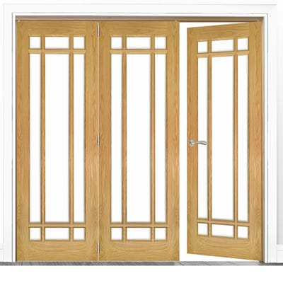 Deanta Internal Oak Kerry Clear Glazed 3 (2+1) Door Room Divider 2060 x 2136 x 133mm
