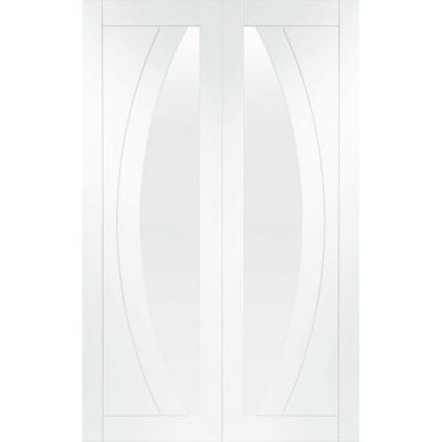 XL Joinery Internal White Primed Salerno 1L Clear Glazed Door Pair