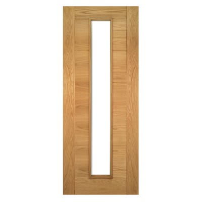 Deanta Internal Oak Seville Prefinished 1L Clear Glazed Door