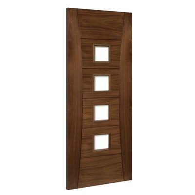 Deanta Internal Walnut Pamplona 4L Prefinished Clear Glazed FD30 Fire Door