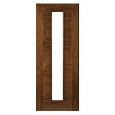 Deanta Internal Walnut Seville Prefinished 1L Clear Glazed Door