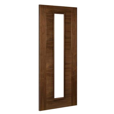 Deanta Internal Walnut Seville Prefinished 1L Clear Glazed FD30 Fire Door