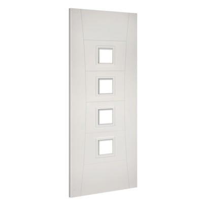 Deanta Internal White Primed Pamplona 4L Clear Glazed FD30 Fire Door