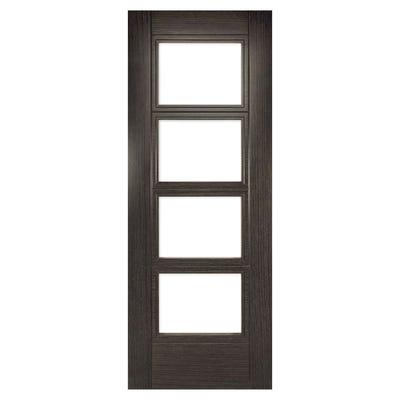 Deanta Internal Dark Grey Ash Montreal 4L Prefinished Clear Glazed FD30 Fire Door