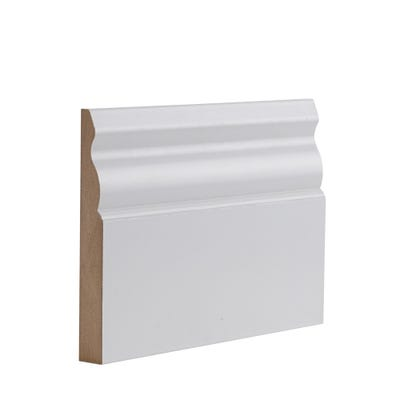 Deanta Internal White Primed Ulysses Skirting 3.6m x 145mm x 18mm Pack of 4