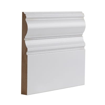 Deanta Internal White Primed Victoriana Skirting 3.6m x 180mm x 18mm Pack of 4