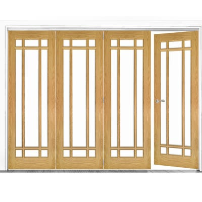 Deanta Internal Oak Kerry Clear Glazed 4 (3+1) Door Room Divider 2060 x 2825 x 133mm