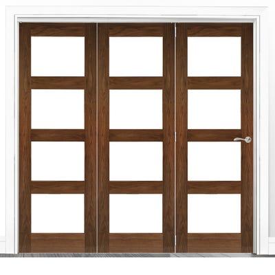 Deanta Internal Walnut Coventry Prefinished Clear Glazed 3 Door Room Divider 2060 x 1908 x 133mm