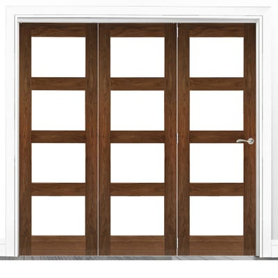 Deanta Internal Walnut Coventry Prefinished Clear Glazed 3 Door Room Divider 2060 x 1908 x 133mm