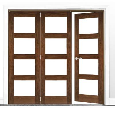 Deanta Internal Walnut Coventry Prefinished Clear Glazed 3 (2+1) Door Room Divider 2060 x 1908 x 133mm