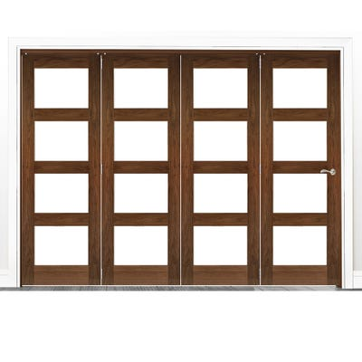 Deanta Internal Walnut Coventry Prefinished Clear Glazed 4 Door Room Divider 2060 x 2521 x 133mm