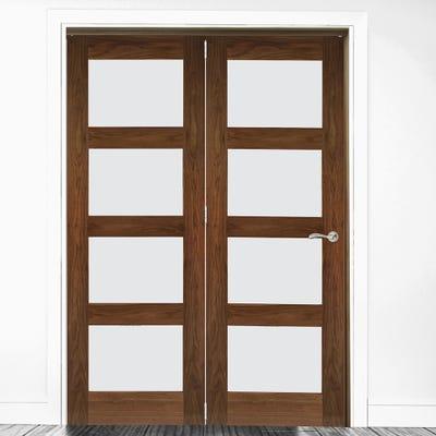 Deanta Internal Walnut Coventry Prefinished Clear Glazed 2 Door Room Divider 2060 x 1447 x 133mm