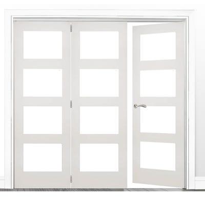 Deanta Internal White Primed Coventry Clear Glazed 3 (2+1) Door Room Divider 2060 x 1908 x 133mm