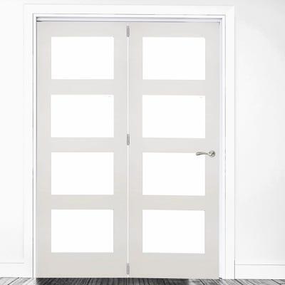 Deanta Internal White Primed Coventry Clear Glazed 2 Door Room Divider 2060 x 1447 x 133mm