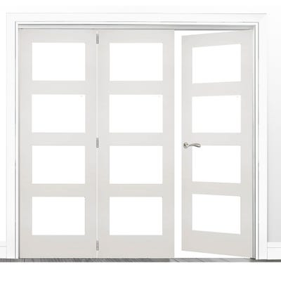 Deanta Internal White Primed Coventry Clear Glazed 3 (2+1) Door Room Divider 2060 x 2136 x 133mm