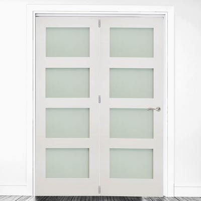 Deanta Internal White Primed Coventry Frosted Glazed 2 Door Room Divider 2060 x 1447 x 133mm