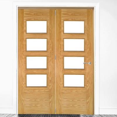 Deanta Internal Oak Seville Prefinished Clear Glazed 2 Door Room Divider 2060 x 1295 x 133mm