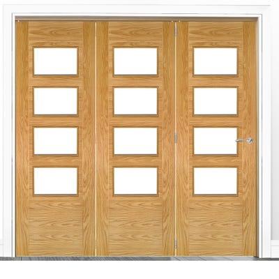 Deanta Internal Oak Seville Prefinished Clear Glazed 3 Door Room Divider 2060 x 1908 x 133mm