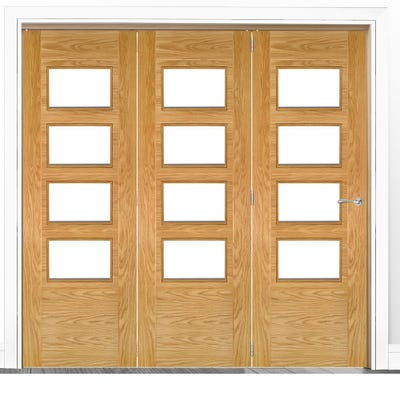 Deanta Internal Oak Seville Prefinished Clear Glazed 3 Door Room Divider 2060 x 1908 x 133mm