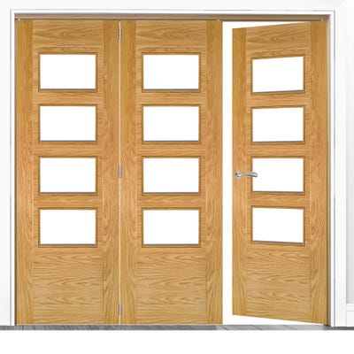 Deanta Internal Oak Seville Prefinished Clear Glazed 3 (2+1) Door Room Divider 2060 x 1908 x 133mm