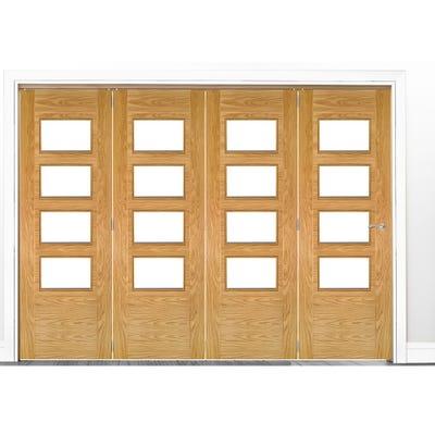 Deanta Internal Oak Seville Prefinished Clear Glazed 4 Door Room Divider 2060 x 2521 x 133mm