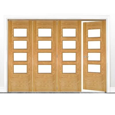 Deanta Internal Oak Seville Prefinished Clear Glazed 4 (3+1) Door Room Divider 2060 x 2521 x 133mm