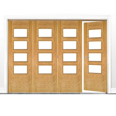 Deanta Internal Oak Seville Prefinished Clear Glazed 4 (3+1) Door Room Divider 2060 x 2521 x 133mm