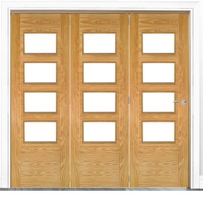 Deanta Internal Oak Seville Prefinished Clear Glazed 3 Door Room Divider 2060 x 2136 x 133mm