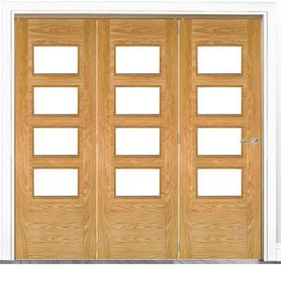 Deanta Internal Oak Seville Prefinished Clear Glazed 3 Door Room Divider 2060 x 2136 x 133mm