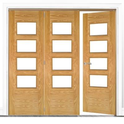 Deanta Internal Oak Seville Prefinished Clear Glazed 3 (2+1) Door Room Divider 2060 x 2136 x 133mm