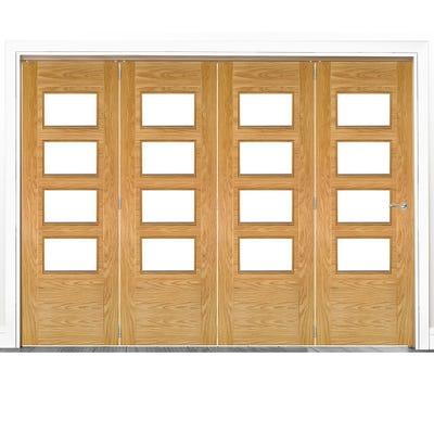 Deanta Internal Oak Seville Prefinished Clear Glazed 4 Door Room Divider 2060 x 2825 x 133mm