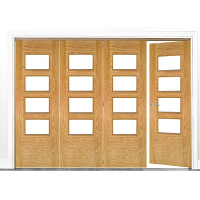 Deanta Internal Oak Seville Prefinished Clear Glazed 4 (3+1) Door Room Divider 2060 x 2825 x 133mm