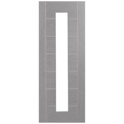 XL Joinery Internal Light Grey Palermo Prefinished 1L Clear Glazed Door