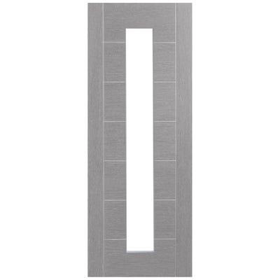 XL Joinery Internal Light Grey Palermo Prefinished 1L Clear Glazed Door