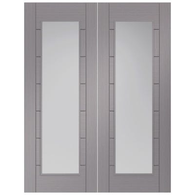 XL Joinery Internal Light Grey Palermo Prefinished 1L Clear Glazed Door Pair