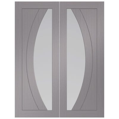 XL Joinery Internal Light Grey Salerno Prefinished 1L Clear Glazed Door Pair