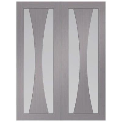 XL Joinery Internal Light Grey Verona Prefinished 2L Clear Glazed Door Pair