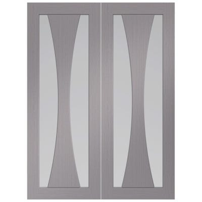 XL Joinery Internal Light Grey Verona Prefinished 2L Clear Glazed Door Pair