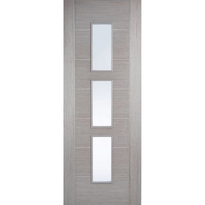 LPD Internal Light Grey Hampshire Prefinished 3L Clear Glazed Door