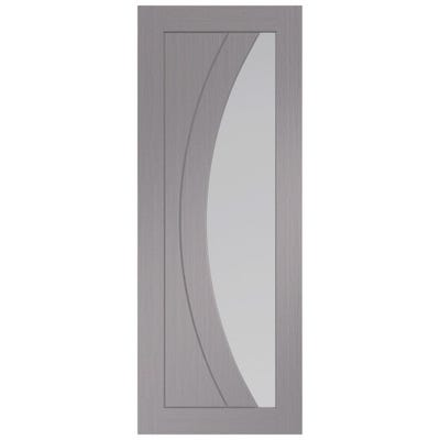 XL Joinery Internal Light Grey Salerno Prefinished 1L Clear Glazed Door