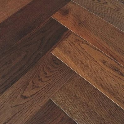 Elka 14 x 120mm Dark Smoked Oak Brushed and Oiled Herringbone Engineered Wood Flooring ELKA14HBDSOAK