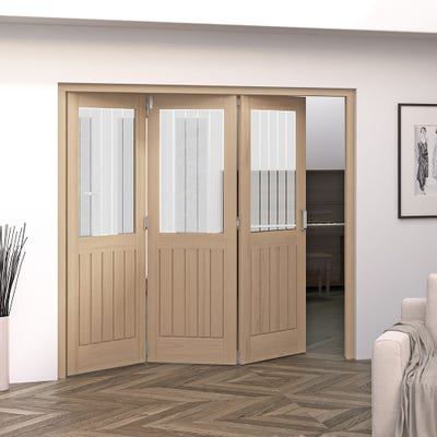 Jeld-Wen Internal Oak Oregon Cottage Etched Glazed 3 Door Roomfold 2047 x 2157 x 92mm