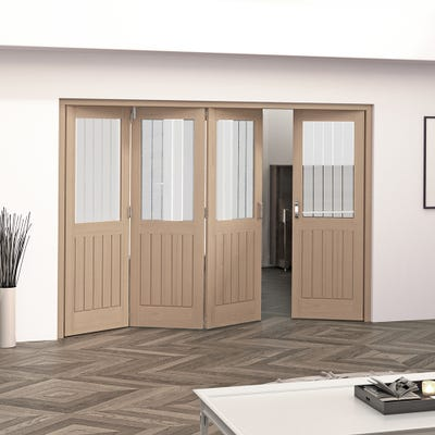 Jeld-Wen Internal Oak Oregon Cottage Etched Glazed 4 Door (3+1) Roomfold 2047 x 2849 x 92mm