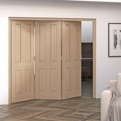 Jeld-Wen Internal Oak Oregon 4 Panel 3 Door Roomfold