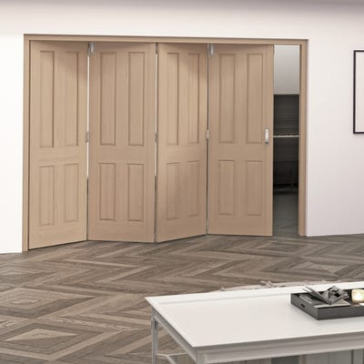 Jeld-Wen Internal Oak Oregon 4 Panel 4 Door Roomfold