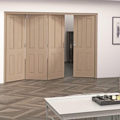 Jeld-Wen Internal Oak Oregon 4 Panel 4 Door (3+1) Roomfold
