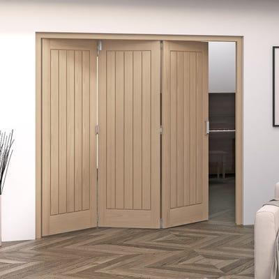 Jeld-Wen Internal Oak Oregon Cottage 5 Panel 3 Door Roomfold
