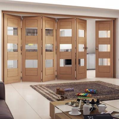 Jeld-Wen Oak Oregon Cottage Horizontal Clear Glazed 5 Door (4+1) Roomfold