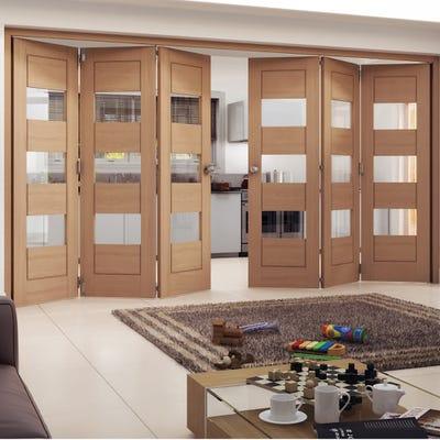 Jeld-Wen Oak Oregon Cottage Horizontal Clear Glazed 6 Door (3+3) Roomfold