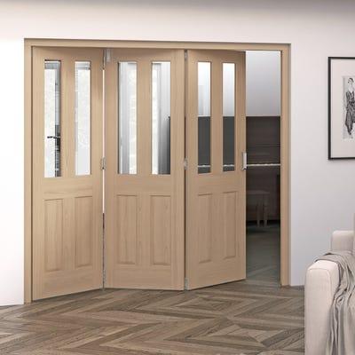 Jeld-Wen Internal Oak Oregon 2L Clear Glazed 3 Door Roomfold 2047 x 2157 x 92mm